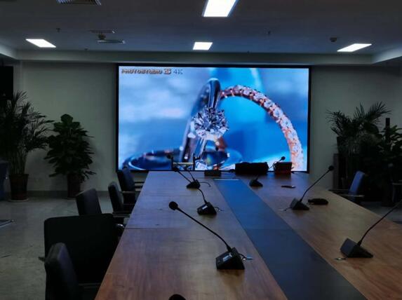 泰安老街一号公寓高铁城投领导会议室P1.53全彩屏及会议扩声系统