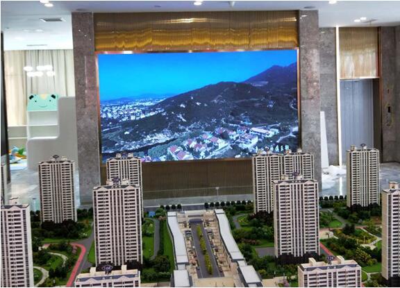 泰安市高铁新区福园售楼处室内P2全彩屏15平方